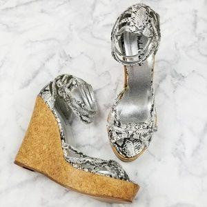 Michael Antonio|Strappy Snake Print Wedge Heels